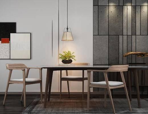 中式, 桌椅组合, 灯具, 绿植, 装饰画