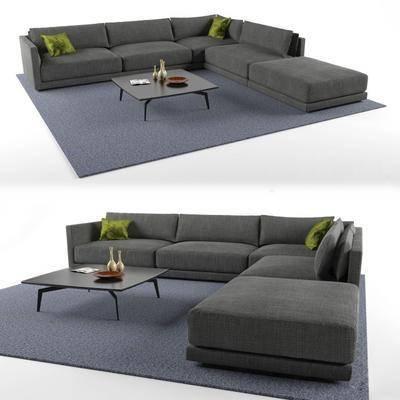 多人沙发, 布艺沙发, 转角沙发, 茶几, 地毯, 现代