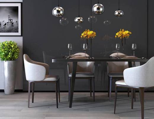 现代, 餐桌, 椅子, 单椅, 摆件, 餐具, 装饰品, 盆栽, 花瓶, 吊灯, 高脚杯