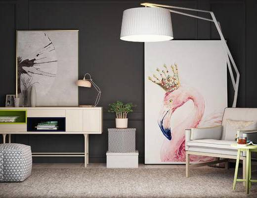 边柜, 单人沙发, 装饰画, 北欧, 落地灯, 台灯