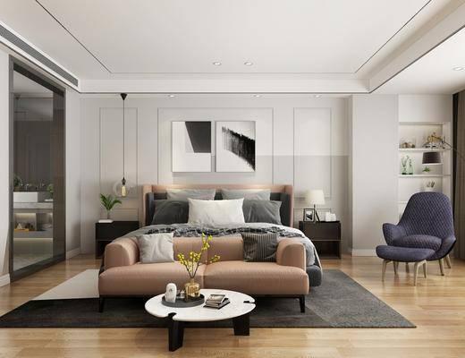 卧室, 现代卧室, 床具组合, 茶几, 沙发, 单椅, 挂画, 吊灯, 床头柜, 现代