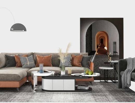 沙发组合, 落地灯, 茶几, 摆件组合, 单椅, 装饰画, 边几