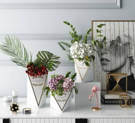 摆件组合, 北欧摆件组合, 花瓶花卉, 北欧花瓶花卉, 北欧
