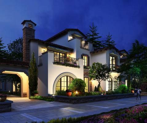 别墅, 夜景, 景观, 外观, 室外