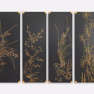 装饰画, 挂画, 新中式挂画, 梅花, 竹子, 挂板, 新中式