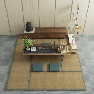 茶几, 摆件, 装饰品, 边柜, 装饰柜, 日式