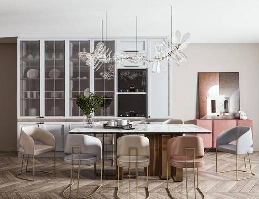 大理石餐桌, 餐椅, 装饰柜, 边柜, 餐具, 饰品摆件