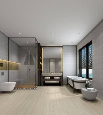 卫生间, 浴缸, 坐便器, 淋浴房, 花洒, 浴室柜, 毛巾架, 洗手台, 装饰镜, 现代