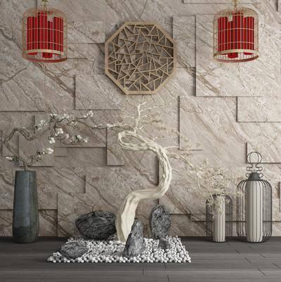 大理石背景墙, 园艺小品, 吊灯组合, 树木, 花瓶, 干树枝, 花卉, 墙饰, 落地灯, 新中式