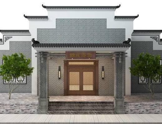 门头, 门口, 中式, 徽派, 建筑, 古建