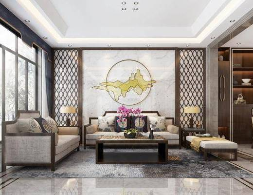 新中式客餐厅, 客厅, 餐厅, 新中式客厅, 新中式餐厅, 中式客厅, 中式餐厅, 沙发茶几组合