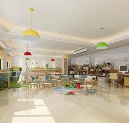 幼儿园, 教室, 单椅, 玩具, 置物柜, 书籍, 现代幼儿园, 现代