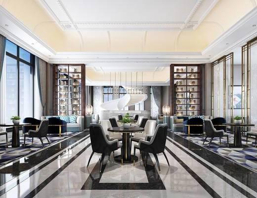 售楼处, 新中式, 新古典, 休闲桌椅, 楼梯, 会客厅
