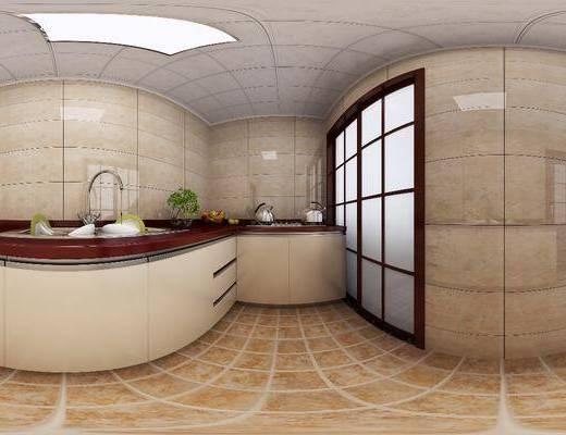 厨房, 厨具, 橱柜, 洗手台, 新中式