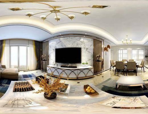 客厅, 现代客厅, 现代沙发, 沙发组合, 沙发茶几组合, 吊灯