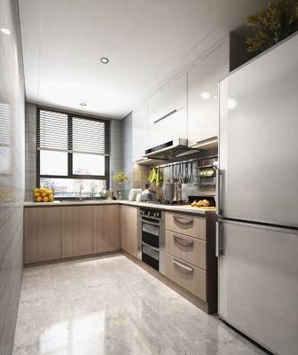 厨房, 橱柜, 餐具, 冰箱, 厨具, 现代