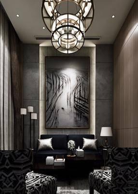 中式會客洽談室, 雙人沙發, 臺燈, 沙發椅, 中式