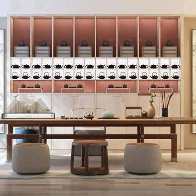 茶室, 新中式, 新中式茶室, 茶桌, 茶具, 置物架, 摆件, 单椅, 椅子, 沙发凳