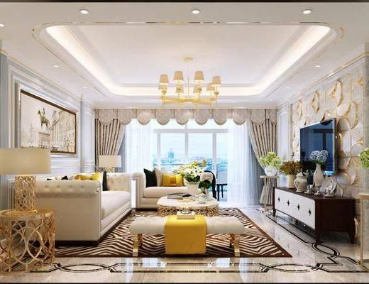 客厅, 美式轻奢客厅, 美式客厅, 美式轻奢, 沙发组合, 茶几, 花瓶胡海, 圆几, 台灯, 摆件组合, 吊灯, 美式