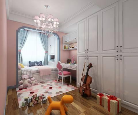 儿童房, 女孩房, 榻榻米, 吊灯, 单人椅, 衣柜, 玩偶, 玩具, 简欧