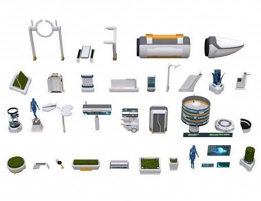 公共设施, 火车, 花坛, 绿地, 充电站, 电子屏, 广告牌, 路灯, 公共椅