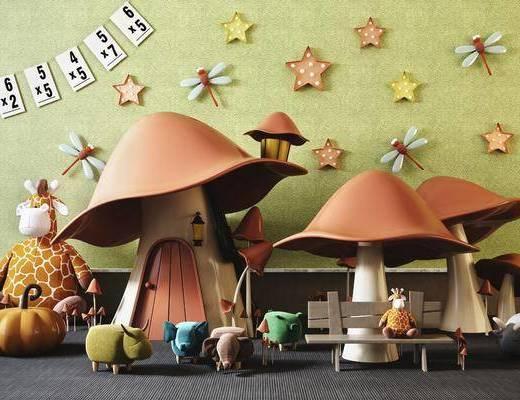 现代儿童玩具, 蘑菇房, 摆件组合