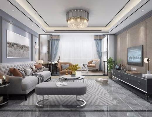 现代, 客厅, 多人沙发, 单人沙发, 茶几, 边几, 台灯, 电视柜, 吊灯, 壁灯, 盘栽