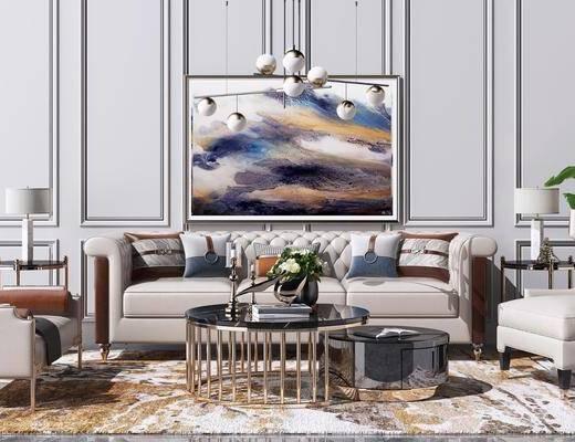 边几, 单人椅子, 吊灯, 装饰画, 茶几, 单椅, 摆件组合, 植物