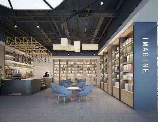 吊灯, 桌椅组合, 书柜, 书籍, 沙发组合