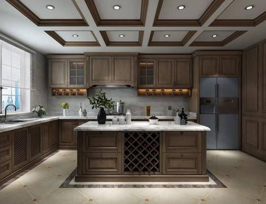 厨房, 橱柜, 厨具, 洗手台, 冰箱, 花瓶花卉, 花瓶绿植, 美式