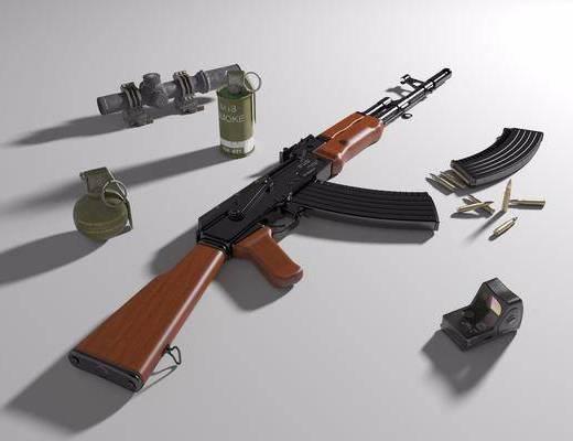 突击步枪, 子弹, 手雷, 烟雾弹, 全息瞄准镜
