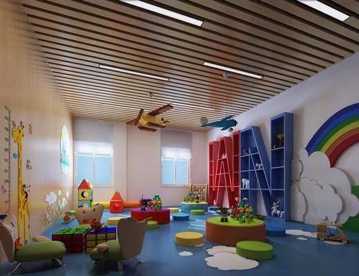 儿童娱乐室, 儿童玩耍区, 单人椅, 玩具, 玩偶, 装饰柜, 摆件, 装饰品, 陈设品, 现代