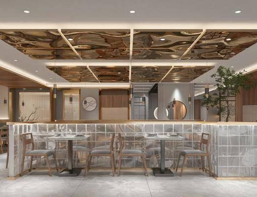 餐厅, 餐桌, 桌椅组合, 植物, 墙饰
