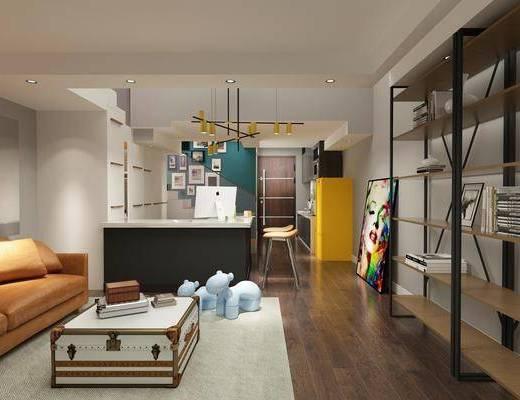 公寓, 现代客厅, 工业风, 装饰架, 沙发组合, 吧台