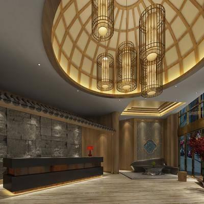 新中式, 洗浴大厅, 工装