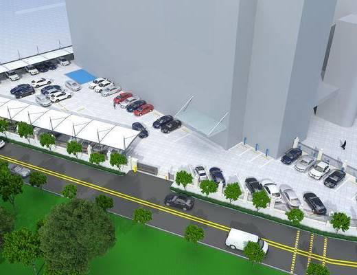 停车场, 车棚, 树木