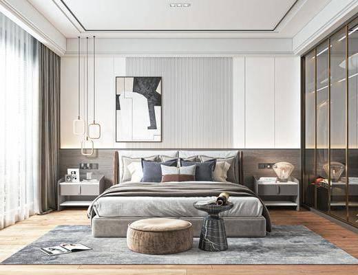 双人床, 床头柜, 装饰画, 吊灯, 衣柜