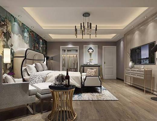 卧室, 双人床, 床尾凳, 单人沙发, 凳子, 边几, 电视柜, 边柜, 装饰柜, 落地灯, 吊灯, 衣柜, 服饰, 装饰品, 陈设品, 装饰画, 挂画, 新古典