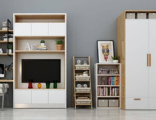 衣柜, 装饰柜, 装饰架, 书桌, 单人椅, 摆件, 北欧