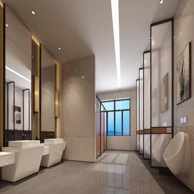 衛生間, 洗手臺, 壁燈, 花瓶, 花卉, 裝飾畫, 掛畫, 新中式
