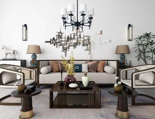沙发组合, 多人沙发, 茶几, 单人椅, 盆栽, 绿植植物, 墙饰, 壁灯, 吊灯, 边几, 台灯, 新中式