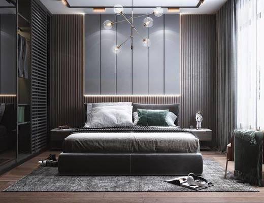 双人床, 衣柜, 装饰品摆件, 灯具, 休闲椅