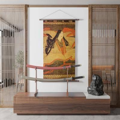 日式挂画, 武士刀摆件