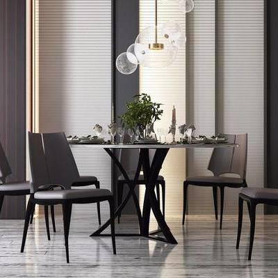 圆桌, 餐桌, 餐椅, 吊灯, 摆件, 现代
