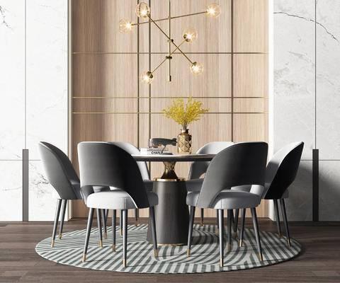 餐桌, 桌椅组合, 吊灯, 摆件