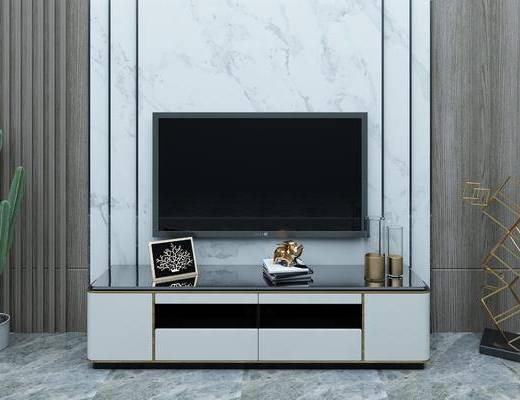 电视背景墙, 电视柜, 边柜, 摆件, 装饰品, 陈设品, 盆栽, 绿植植物, 现代