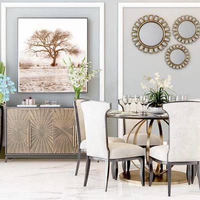 餐桌, 餐椅, 边柜, 挂画, 摆件, 墙饰, 简欧