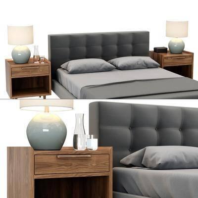 双人床, 床头柜, 床具, 台灯, 边柜, 置物柜, 现代