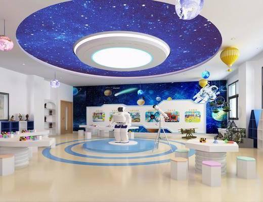 科技室, 幼儿园, 桌子, 凳子, 摆件, 装饰品, 陈设品, 现代