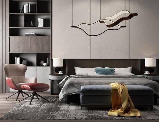 双人床, 边几, 台灯, 吊灯, 装饰柜, 单人椅, 休闲椅, 休闲椅组合, 书柜, 书籍, 摆件, 装饰品, 陈设品, 现代奢华